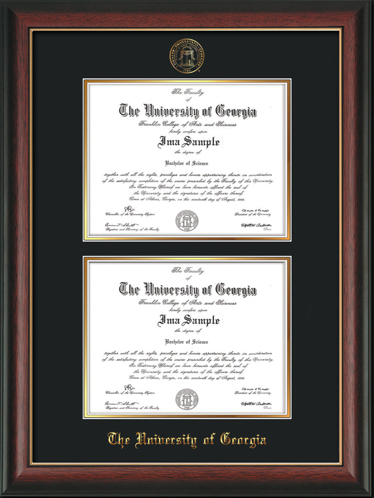 Image of University of Georgia Diploma Frame - Rosewood w/Gold Lip - with UGA Seal - Double Diploma - Black on Gold mat