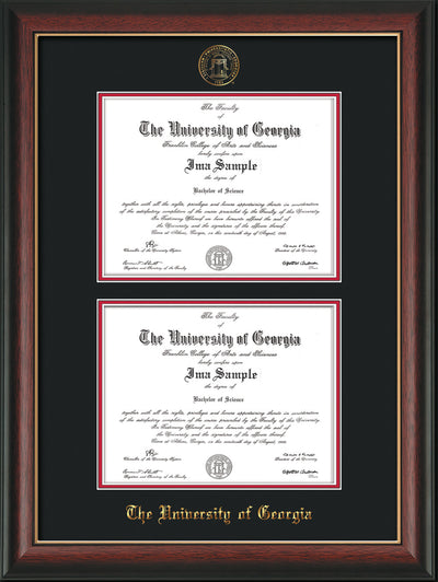 Image of niversity of Georgia Diploma Frame - Rosewood w/Gold Lip - with UGA Seal - Double Diploma - Black on Red mat
