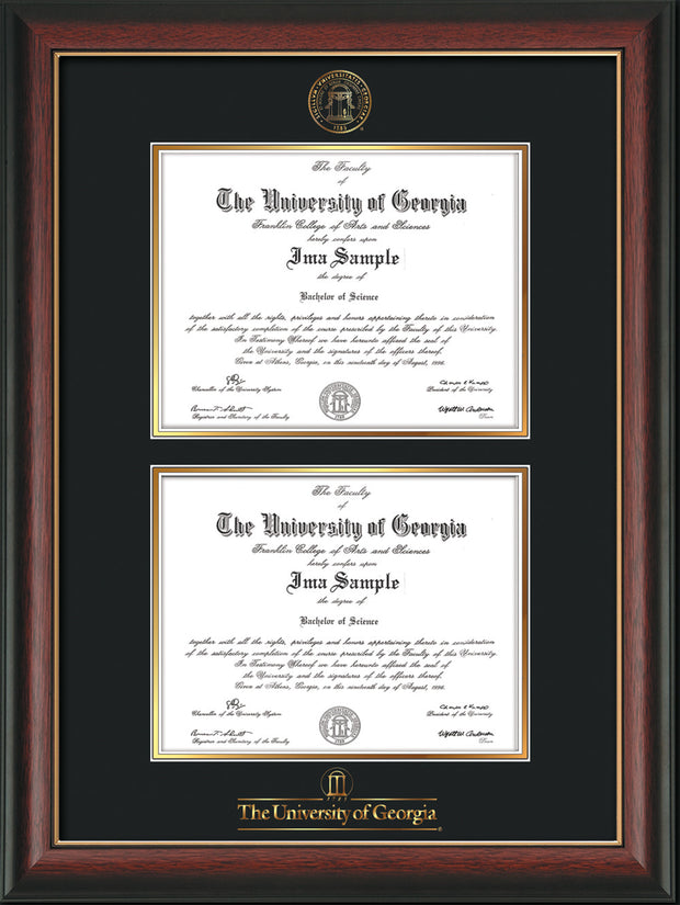 Image of University of Georgia Diploma Frame - Rosewood w/Gold Lip - with UGA Seal & Wordmark - Double Diploma - Black on Gold mat
