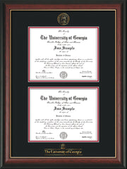 Image of University of Georgia Diploma Frame - Rosewood w/Gold Lip - with UGA Seal & Wordmark - Double Diploma - Black on Red mat