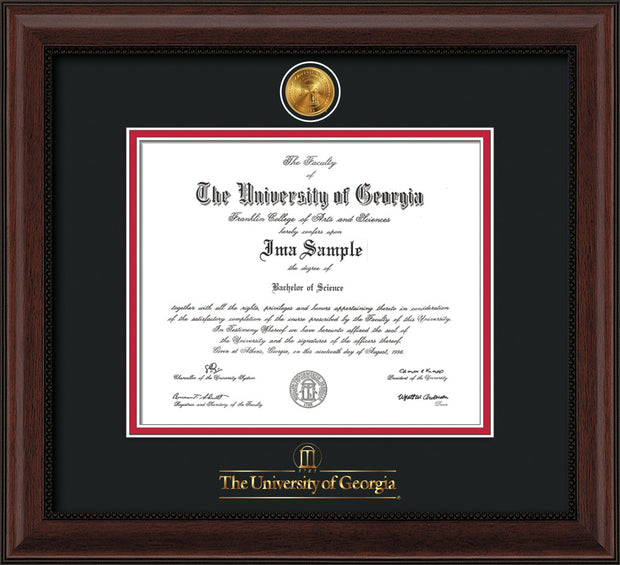 Image of University of Georgia Diploma Frame - Mahogany Bead - w/24k Gold-Plated Medallion UGA Wordmark Embossing - Black on Red mats