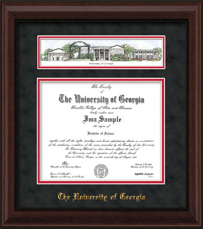 Image of University of Georgia Diploma Frame - Mahogany Bead - w/Embossed School Name Only - Campus Collage - Black Suede on Red mat