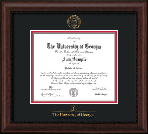 Image of University of Georgia Diploma Frame - Mahogany Bead - w/Embossed Seal & Wordmark - Black on Red mats