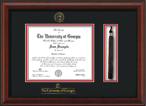 Image of University of Georgia Diploma Frame - Mahogany Bead - w/UGA Embossed Seal & School Wordmark - Tassel Holder - Black on Red mat