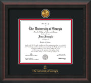 Image of University of Georgia Diploma Frame - Mahogany Braid - w/24k Gold-Plated Medallion UGA Wordmark Embossing - Black on Red mats