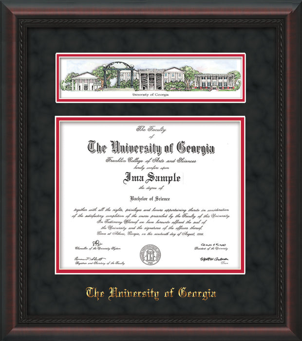 Image of University of Georgia Diploma Frame - Mahogany Braid - w/Embossed School Name Only - Campus Collage - Black Suede on Red mat