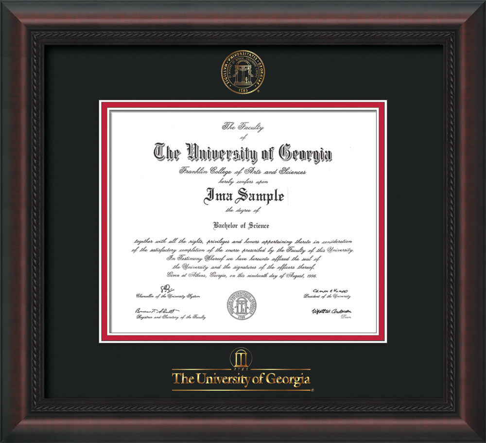 image of university of georgia diploma frame mahogany braid wembossed seal