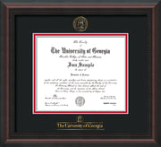 Image of University of Georgia Diploma Frame - Mahogany Braid - w/Embossed Seal & Wordmark - Black on Red mats