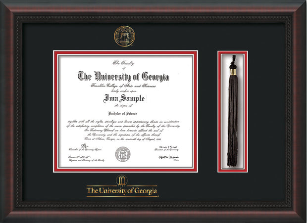 Image of University of Georgia Diploma Frame - Mahogany Braid - w/UGA Embossed Seal & School Wordmark - Tassel Holder - Black on Red mat