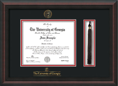 UGA Diploma Frame - Mahog Braid - Seal & Tassel - Wordmark - Black ...