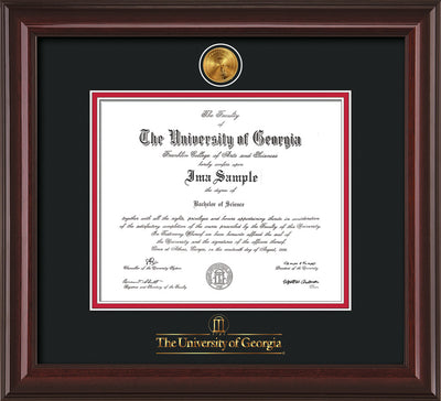 Image of University of Georgia Diploma Frame - Mahogany Lacquer - w/24k Gold-Plated Medallion UGA Wordmark Embossing - Black on Red mats