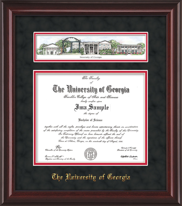 Image of University of Georgia Diploma Frame - Mahogany Lacquer - w/Embossed School Name Only - Campus Collage - Black Suede on Red mat