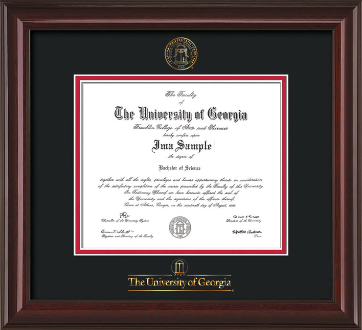Image of University of Georgia Diploma Frame - Mahogany Lacquer - w/Embossed Seal & Wordmark - Black on Red mats