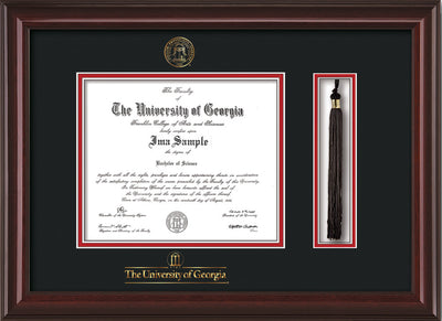 Image of University of Georgia Diploma Frame - Mahogany Lacquer - w/UGA Embossed Seal & School Wordmark - Tassel Holder - Black on Red mat