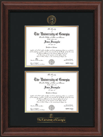 Image of University of Georgia Diploma Frame - Mahogany Bead - with UGA Seal & Wordmark - Double Diploma - Black on Gold mat