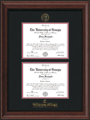 Image of University of Georgia Diploma Frame - Mahogany Bead - with UGA Seal & Wordmark - Double Diploma - Black on Red mat