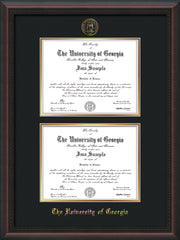 Image of University of Georgia Diploma Frame - Mahogany Braid - with UGA Seal - Double Diploma - Black on Gold mat
