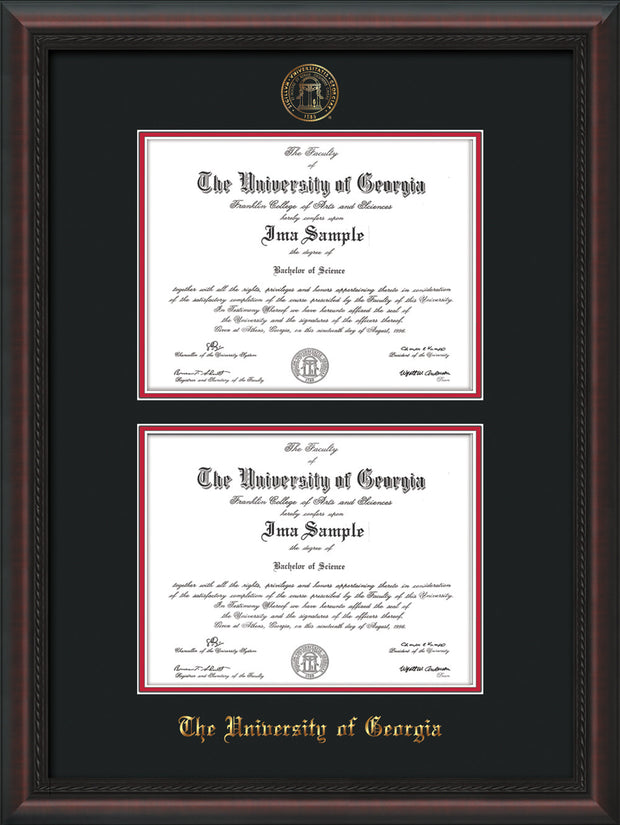 Image of University of Georgia Diploma Frame - Mahogany Braid - with UGA Seal - Double Diploma - Black on Red mat