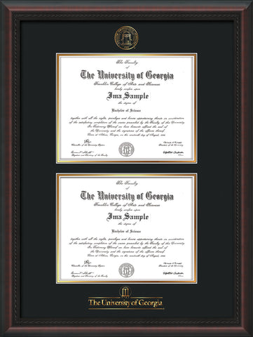 Image of University of Georgia Diploma Frame - Mahogany Braid - with UGA Seal & Wordmark - Double Diploma - Black on Gold mat