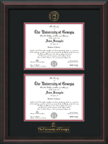 Image of University of Georgia Diploma Frame - Mahogany Braid - with UGA Seal & Wordmark - Double Diploma - Black on Red mat
