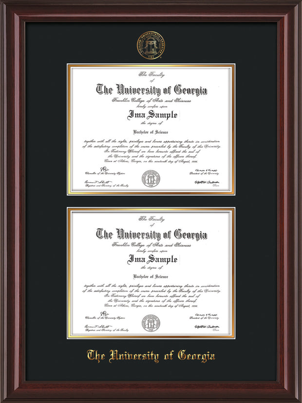 Image of University of Georgia Diploma Frame - Mahogany Lacquer - with UGA Seal - Double Diploma - Black on Gold mat