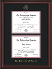 Image of University of Georgia Diploma Frame - Mahogany Lacquer - with UGA Seal - Double Diploma - Black on Red mat