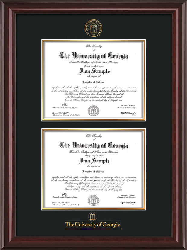 Image of University of Georgia Diploma Frame - Mahogany Lacquer - with UGA Seal & Wordmark - Double Diploma - Black on Gold mat