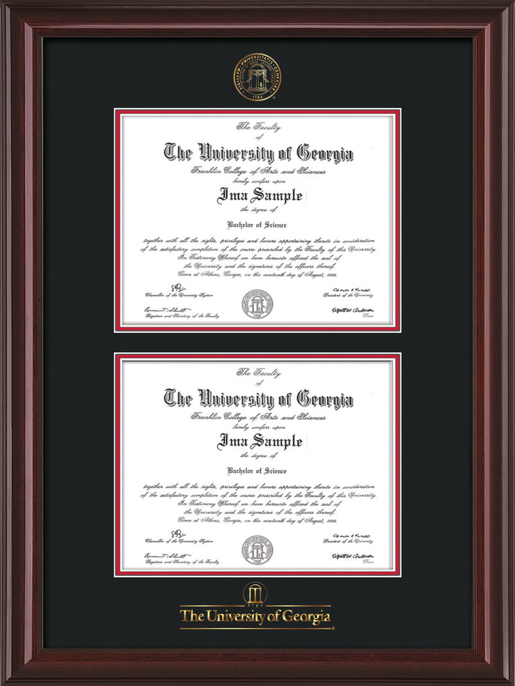 Image of University of Georgia Diploma Frame - Mahogany Lacquer - with UGA Seal & Wordmark - Double Diploma - Black on Red mat