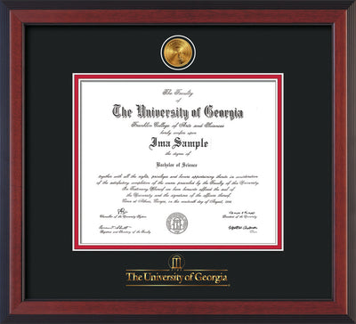 Image of University of Georgia Diploma Frame - Cherry Reverse - w/24k Gold-Plated Medallion UGA Wordmark Embossing - Black on Red mats
