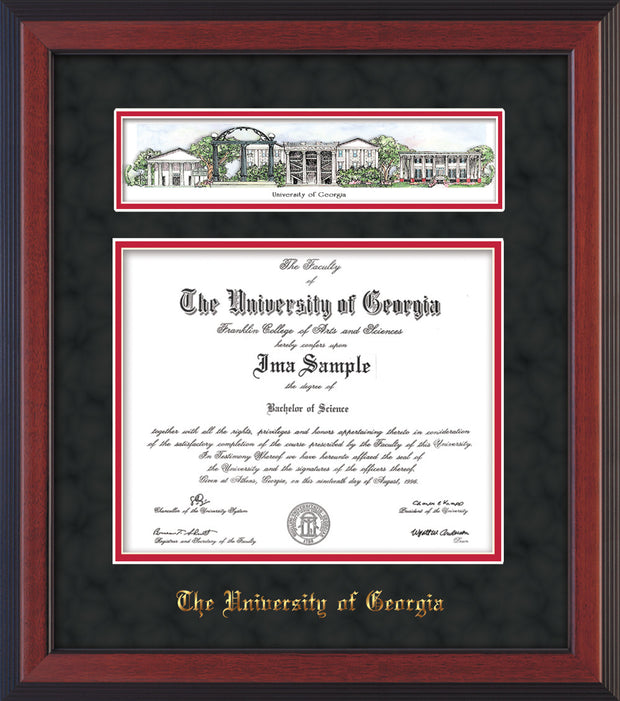 Image of University of Georgia Diploma Frame - Cherry Reverse - w/Embossed School Name Only - Campus Collage - Black Suede on Red mat
