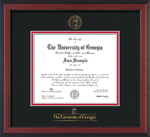 Image of University of Georgia Diploma Frame - Cherry Reverse - w/Embossed Seal & Wordmark - Black on Red mats