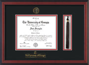 Image of University of Georgia Diploma Frame - Cherry Reverse - w/UGA Embossed Seal & School Wordmark - Tassel Holder - Black on Red mat
