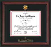 Image of University of Georgia Diploma Frame - Rosewood - w/24k Gold-Plated Medallion UGA Wordmark Embossing - Black on Red mats