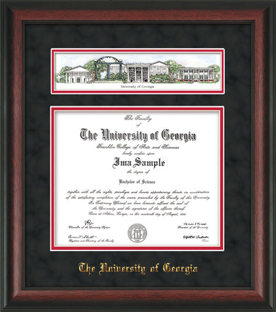 Image of University of Georgia Diploma Frame - Rosewood - w/Embossed School Name Only - Campus Collage - Black Suede on Red mat
