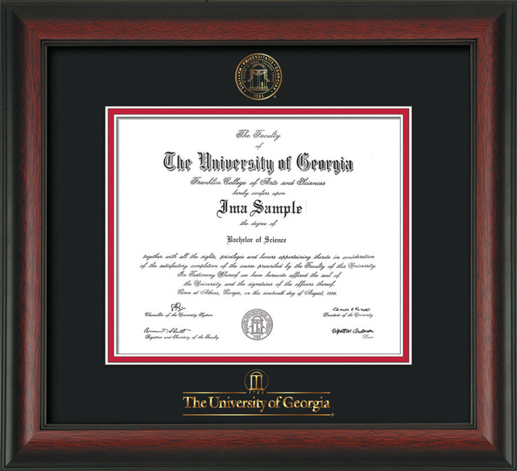 Image of University of Georgia Diploma Frame - Rosewood - w/Embossed Seal & Wordmark - Black on Red mats