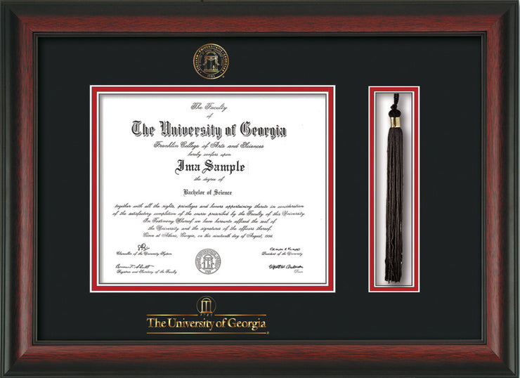 Image of University of Georgia Diploma Frame - Rosewood - w/UGA Embossed Seal & School Wordmark - Tassel Holder - Black on Red mat