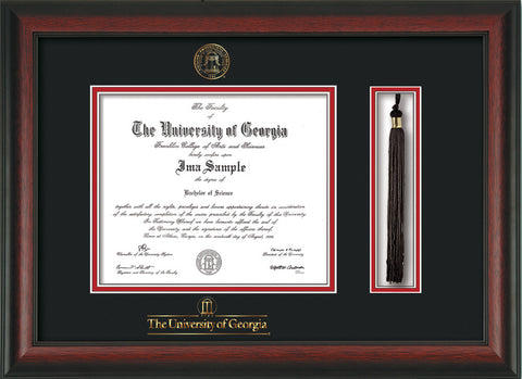 image of university of georgia diploma frame rosewood wuga embossed seal