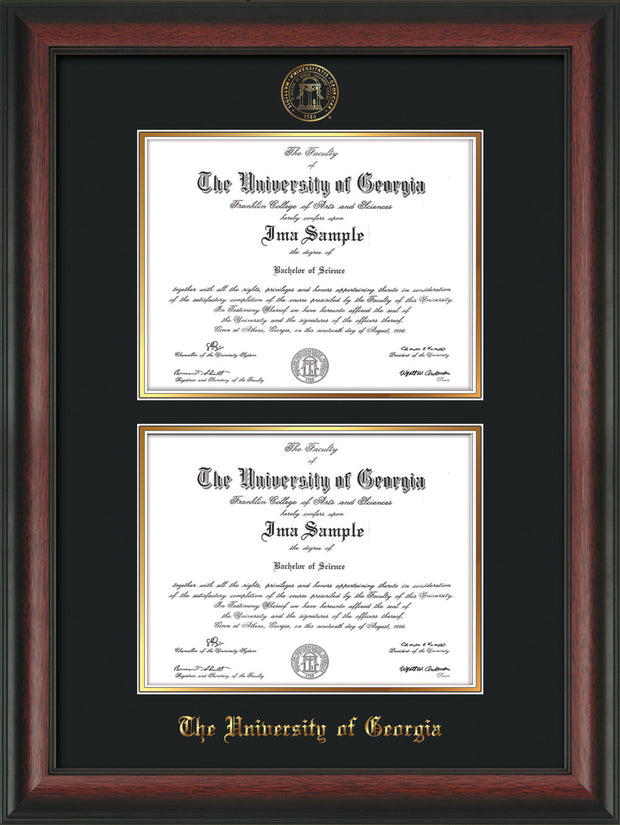 Image of University of Georgia Diploma Frame - Rosewood - with UGA Seal - Double Diploma - Black on Gold mat