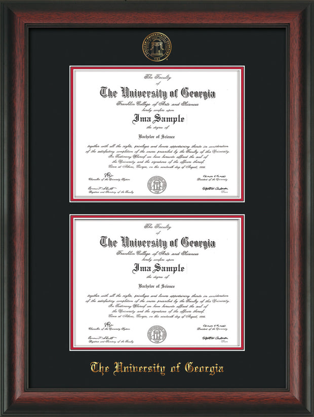 Image of University of Georgia Diploma Frame - Rosewood - with UGA Seal - Double Diploma - Black on Red mat