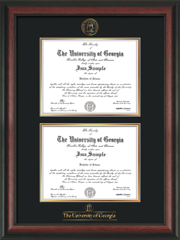 Image of University of Georgia Diploma Frame - Rosewood - with UGA Seal & Wordmark - Double Diploma - Black on Gold mat