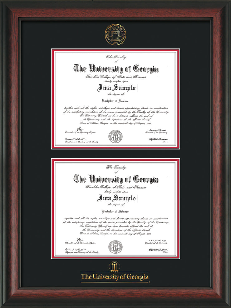 Image of University of Georgia Diploma Frame - Rosewood - with UGA Seal & Wordmark - Double Diploma - Black on Red mat