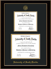 Image of University of South Florida Diploma Frame - Black Lacquer - w/Embossed USF Seal & Name - Double Diploma for 8.5x11 & 11x14 diplomas - Black on Gold mats