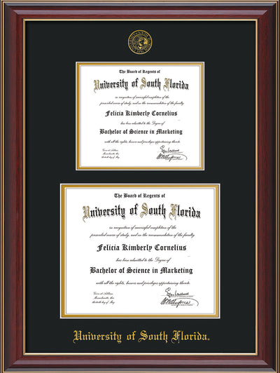 Image of University of South Florida Diploma Frame - Cherry Lacquer - w/Embossed USF Seal & Name - Double Diploma for 8.5x11 & 11x14 diplomas - Black on Gold mats