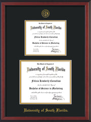 Image of University of South Florida Diploma Frame - Cherry Reverse - w/Embossed USF Seal & Name - Double Diploma for 8.5x11 & 11x14 diplomas - Black on Gold mats