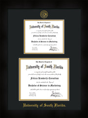 Image of University of South Florida Diploma Frame - Flat Matte Black - w/Embossed USF Seal & Name - Double Diploma for 8.5x11 & 11x14 diplomas - Black on Gold mats