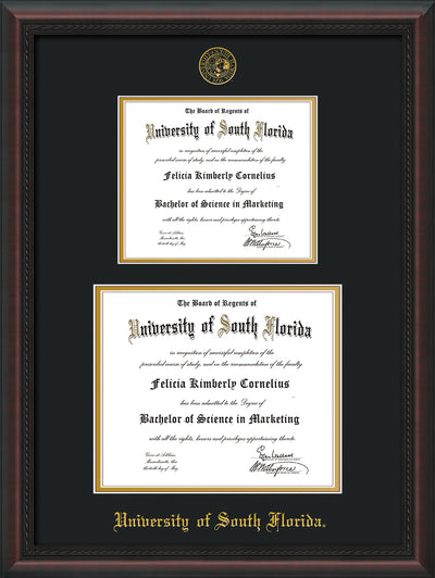 Image of University of South Florida Diploma Frame - Mahogany Braid - w/Embossed USF Seal & Name - Double Diploma for 8.5x11 & 11x14 diplomas - Black on Gold mats