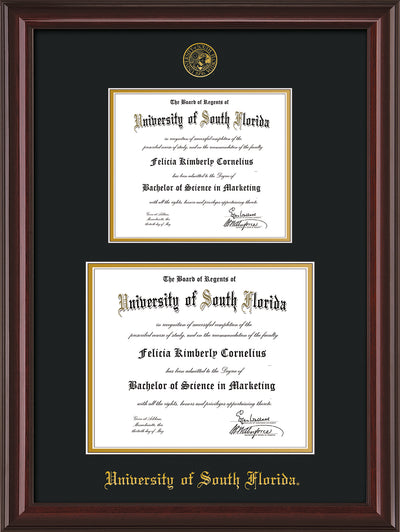 Image of University of South Florida Diploma Frame - Mahogany Lacquer - w/Embossed USF Seal & Name - Double Diploma for 8.5x11 & 11x14 diplomas - Black on Gold mats