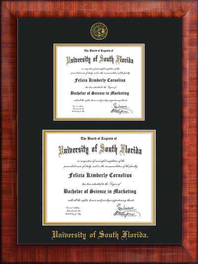 Image of University of South Florida Diploma Frame - Mezzo Gloss - w/Embossed USF Seal & Name - Double Diploma for 8.5x11 & 11x14 diplomas - Black on Gold mats