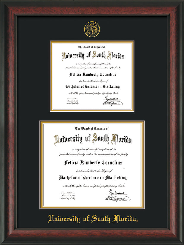 Image of University of South Florida Diploma Frame - Rosewood - w/Embossed USF Seal & Name - Double Diploma for 8.5x11 & 11x14 diplomas - Black on Gold mats