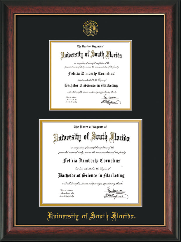 Image of University of South Florida Diploma Frame - Rosewood with Gold Lip - w/Embossed USF Seal & Name - Double Diploma for 8.5x11 & 11x14 diplomas - Black on Gold mats